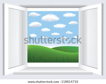 Room, opened window with empty space in blue sky, clouds and green hill - stock vector