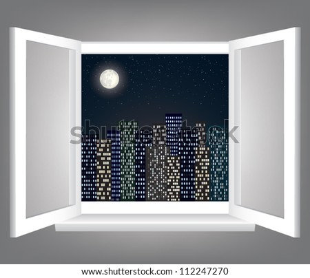 Room, opened window with night city scape - stock vector