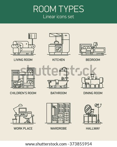 Room Types And Home Interior Linear Icons