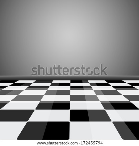 Room with glossy checkered floor pattern in perspective - stock vector