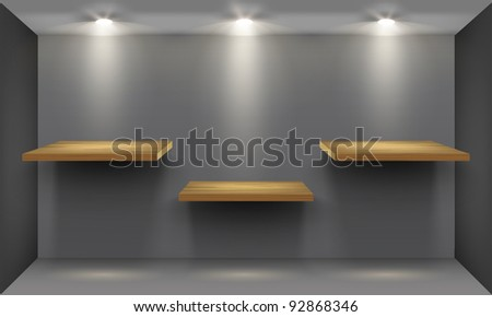 Room with three empty wooden shelf, illuminated by searchlights. Part of set. Vector interior. - stock vector