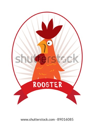 Rooster Cartoon - stock vector