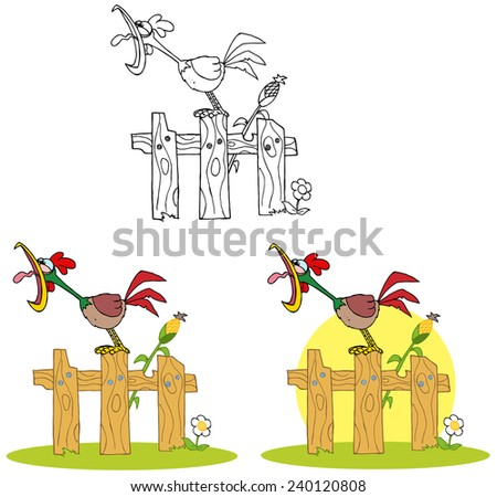 Rooster Cartoon Character Crowing Stepped On The Fence. Vector Collection Set - stock vector