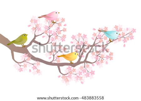 Rooster cherry tree New Year's card background