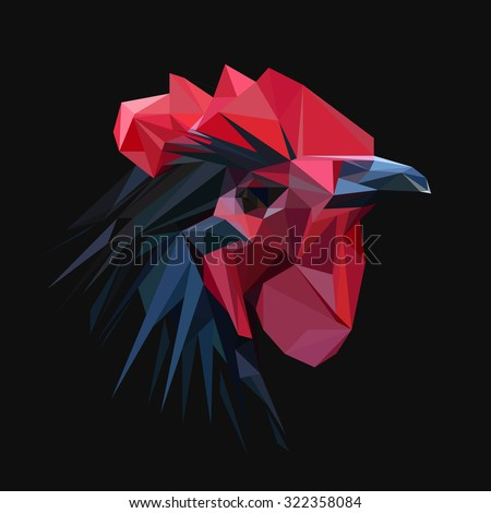 Rooster chicken low poly design. Triangle vector illustration. - stock vector