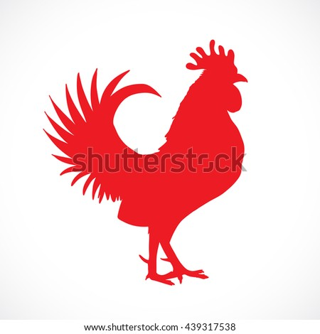 Rooster, cock, red Chinese zodiac vector illustration. Logo, emblem, symbol design. Red hand drawing silhouette isolated on white. Happy new year Chinese Year of the Rooster zodiac emblem 2017.