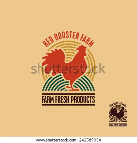 Rooster icon. Cock. Poultry. Farm fresh sign. - stock vector