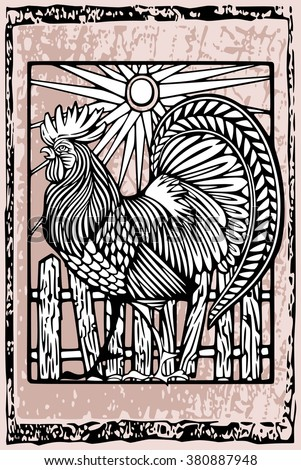 Rooster in woodcut ethnic style - stock vector