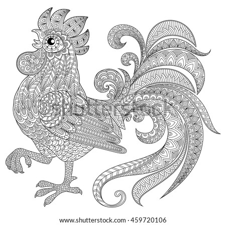 Rooster Zentangle Style Symbol Chinese New Stock Vector ...