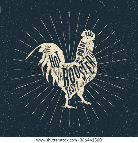 Rooster label. Vintage styled vector illustration - stock vector