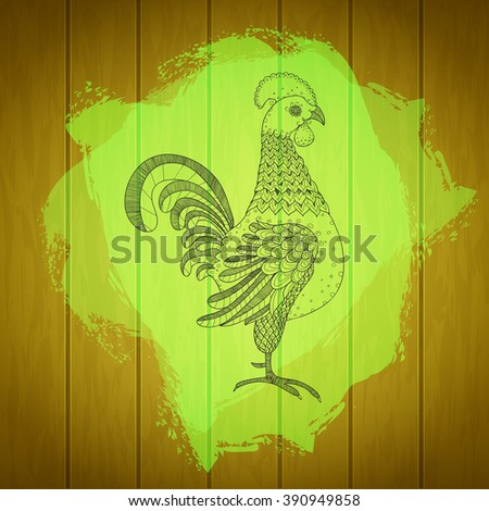Rooster on painted splash and wood texture background. Rooster for fresh farm sign design. Cock symbol for agriculture industry poster, branding. Farm animal sign. Vector organic products illustration - stock vector