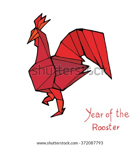 Rooster origami, Chinese Zodiac. Hand drawn vector illustration