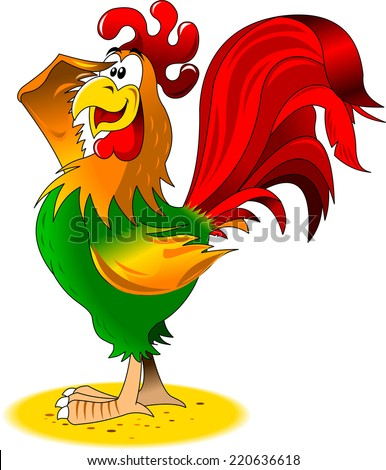 Rooster sits on a perch welcomes the sun, illustration - stock vector