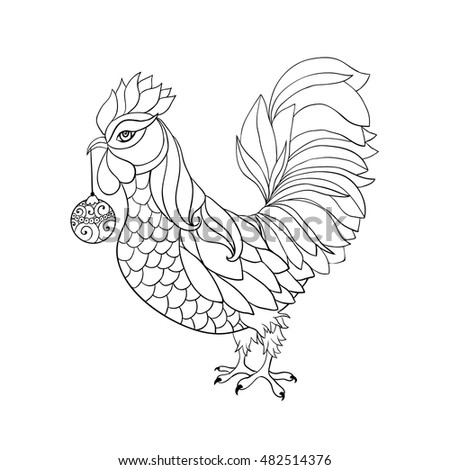 chinese new year 2017 coloring pages - rooster symbol 2017 chinese calendar thin stock vector