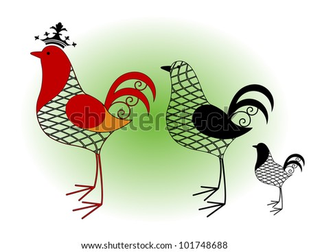 rooster wire frame 3 styles - stock vector