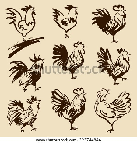 Roosters in different poses. Vector silhouettes roosters. Hand drawn cocks. - stock vector