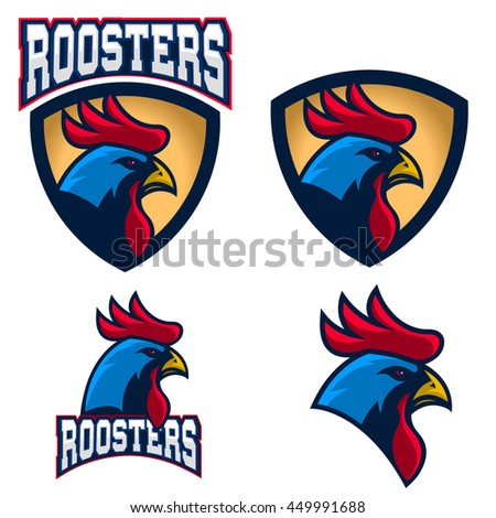 Roosters. Sport team or club logo template. Vector design element for logo, label, emblem, sign, badge.  - stock vector