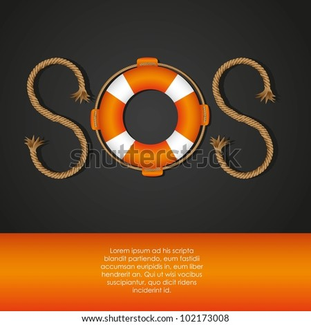 rope and float forming SOS signal, vector illustration - stock vector