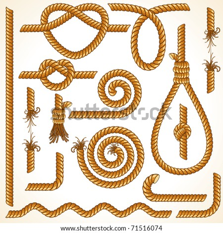 Rope and Tightrope, isolated customizable vector design elements, parts - stock vector