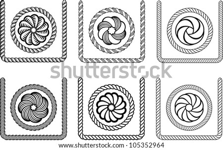 Rope engraving picture. Vector illustration - stock vector