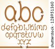 Rope Font. Vector Set of Isolated Alphabet Letters made from Braided Cord - stock vector
