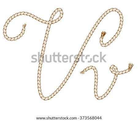 Rope Hand Draw Alphabet with Rope. Letter V. Vector Illustration.