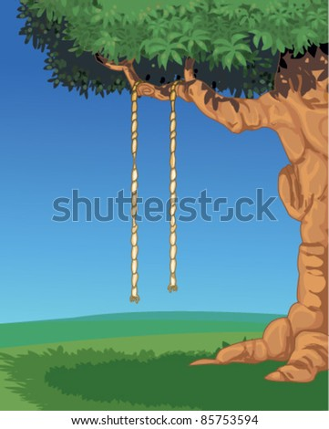 Rope hanging from a shady Tree in park - stock vector