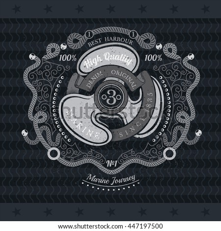 Rope pattern frame and ship propeller cross with ribbon in center. Marine vintage label on blackboard - stock vector