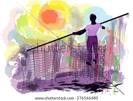rope walker. man on the rope against gringe abstract sky - stock vector