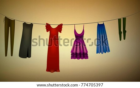 rope with white  woman clothes, laundry day silhouette, vector