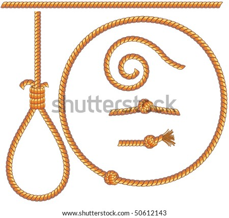 ropes set -vector isolated  design elements: gibbet,knot,loop,spiral - stock vector