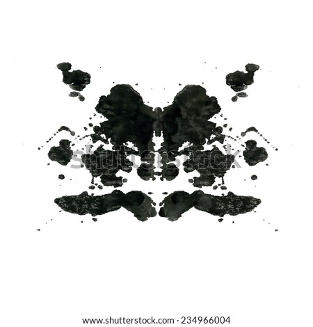 Rorschach inkblot test illustration, random abstract background. Psycho diagnostic inkblot test Rorschach, the projective Rorschach technique, or simply the inkblot test - stock vector
