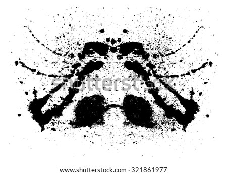 Rorschach inkblot test illustration, random abstract vector background. Psycho diagnostic inkblot test Rorschach, the projective Rorschach technique, or simply the inkblot test
