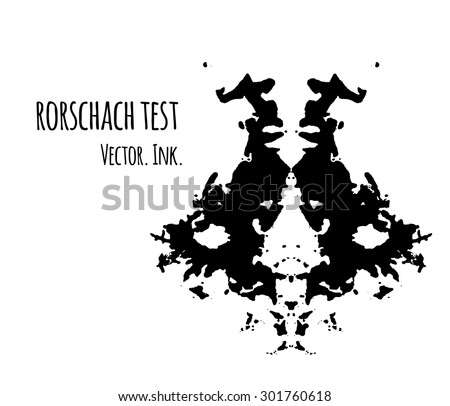 Rorschach test inkblot vector illustration, abstract background. Psychological inkblot  rorschach test image card. - stock vector