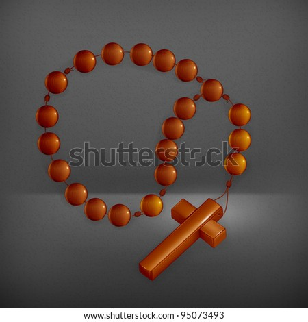 Rosary and Cross, vector - stock vector