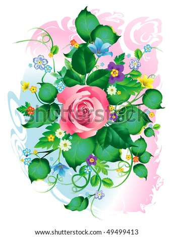 Rose and garden's flowers bouquet - stock vector