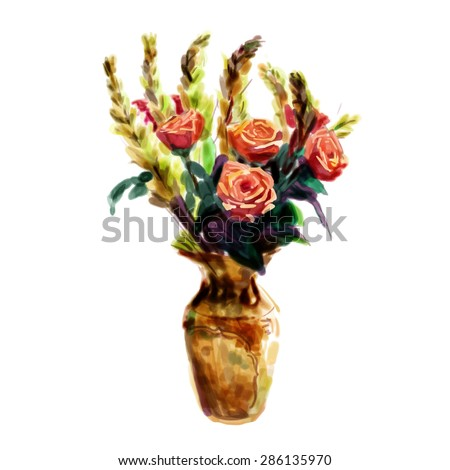 Rose and tuberose in Chinese porcelain vase, watercolor flower painting?vector - stock vector
