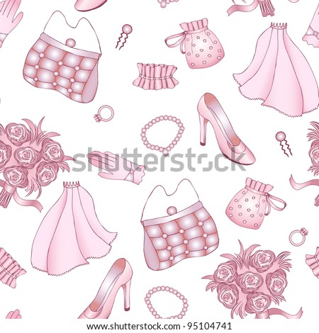 Rose and white wedding seamless pattern. Clipping mask. - stock vector