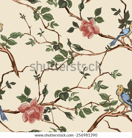 Rose blossom branches with bird seamless pattern background - stock vector