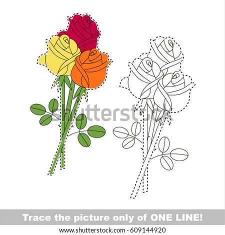 rose bouquet dot to dot educational game for kids the one line tracing page