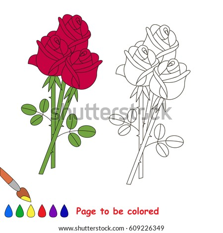 Rose Bouquet Be Colored Coloring Book Stock Vector 609226349 ...