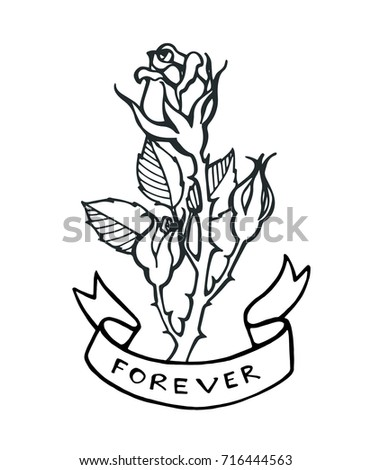 Flower Bud Text Forever Old School Tattoo