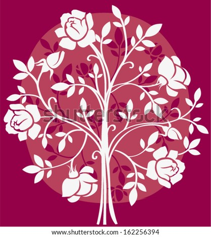 rose bush - stock vector