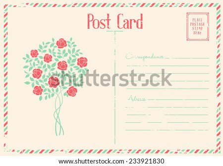 Rose bush postcard. - stock vector