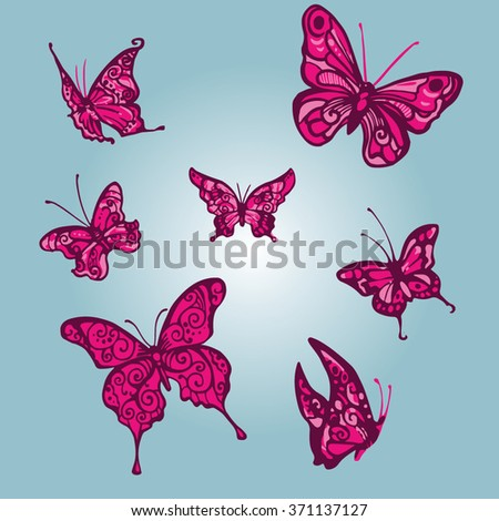 Rose butterfly vector spring