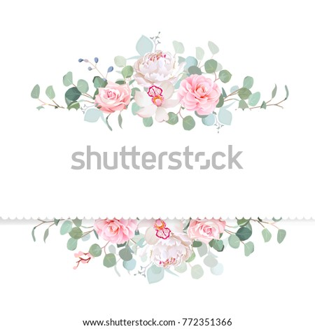 Rose Camellia Orchid Peony Silver Dollar Stock Vector 772351366