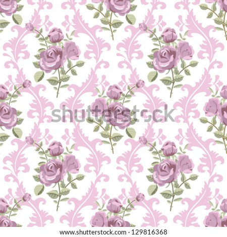 Rose classic vintage seamless wallpaper - stock vector
