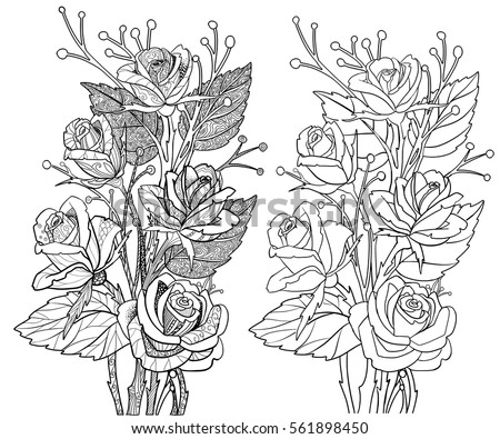 Rose Coloring Book Page Doodle Outline Stock Vector (2018) 561898450 ...