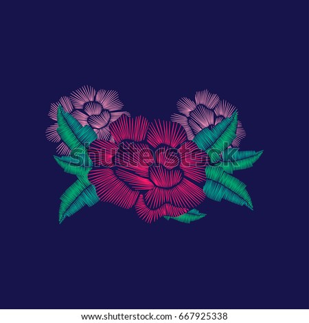 Rose embroidery stitches composition for fashion wearing. Vector design.