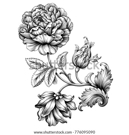 Rose flower vintage Baroque Victorian floral ornament frame border leaf scroll engraved retro pattern decorative design tattoo black and white filigree calligraphic vector